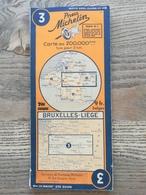 CARTE ROUTIERE MICHELIN  N°3 .ANNEES 1940 / 1945 . BRUXELLES - LIEGE .( CARTE REVISEE EN 1940 ) . BON ETAT . - Cartes Routières