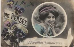 Z28- 86) AVAILLES LIMOUZINE (COQUILLE AVAILLES LIMOUSINE) UNE PENSEE - (PORTRAIT DE FEMME  - 2 SCANS) - Availles Limouzine