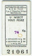 Ancien Ticket De Pesée. Balance. Pèse-Personne. Automates Belges. 1956. - Autres Collections
