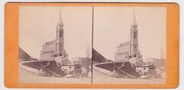 Stereoscopische Kaart.  :LOURDES.  1877.  Basilique N.D.de Lourdes. Façade - Cartes Stéréoscopiques