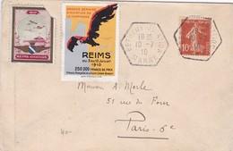 VIGNETTE AVIATION REIMS + GRANDE SEMAINE SUR LETTRE CACHET HEXAGONALE BETHENY 10/7/1910 - Postmark Collection (Covers)