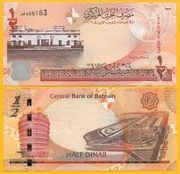 Bahrain 1/2 (half) Dinar P-25 2008 UNC - Bahrein
