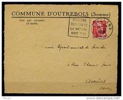 Am5243 Somme 80 Doullens DAGUIN DOU403 Doullens Berceau De La Victoire Mars 1918 FG /devant Lettre 26/12/50 - Marcophilie (Lettres)