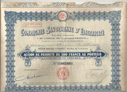 Action  De 100 Francs , COMPAGNIE SAVOISIENNE D'ELETRICITE ,PARIS , Frais Fr 1.95e - Actions & Titres