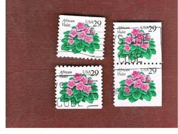 STATI UNITI (U.S.A.) - SG 2847  - 1993 FLOWERS: AFRICAN VIOLET (4 DIFFERENT PERFORATIONS; 2 SE-TENANT)  - USED - Used Stamps