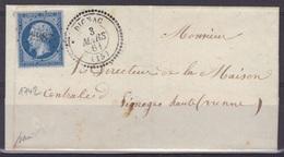 Dignac (Charente) : LSC, Càd 22, PC 3987 N°14, 1861, Signée Baudot, Indice 17. - 1849-1876: Période Classique