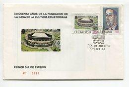 CASA DE LA CULTURA ECUATORIANA, 50 AÑOS. SOBRE Y VOLANTE ENVELOPE ECUADOR AÑO 1994 FDC PRIMER DIA DE EMISION -LILHU - Ecuador