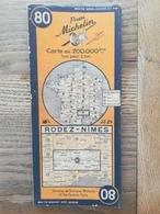 CARTE ROUTIERE MICHELIN N° 80 .  RODEZ - NIMES DES ANNEES 1940/ 45.  BON ETAT .. - Cartes Routières