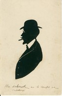 Silhouette Découpée  Homme Chapeau Melon Lunettes Moustachu Fumant Cigarette  Cpa - Silhouettes