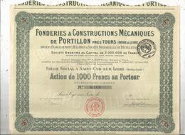 Action  De 100 Francs , FONDERIE & CONSTRUCTIONS MECANIQUES De PORTILLON Près TOURS , Frais Fr 1.95e - Actions & Titres
