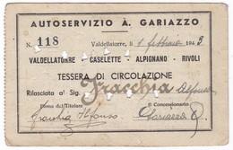 TESSERA - ABBONAMENTO TRASPORTO -  TICKET  - ANNO  1943 - - Abonnements Hebdomadaires & Mensuels