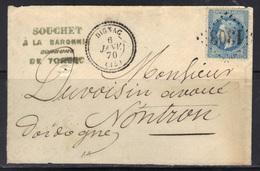 Dignac (Charente) : Enveloppe, Càd Type 22, GC 1303 Sur N°29, 1870. - Storia Postale