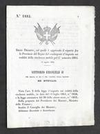 Regno D'Italia - Regio Decreto Riparto Tra Provincie Contingente D'imposta 1864 - Vecchi Documenti