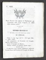 Regno D'Italia - Regio Decreto Regolamento Esecuzione Legge D'imposta 1864 - Vecchi Documenti