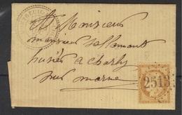 Montreuil-aux-Lions (Aisne) : GC 2513, Càd Type 24 Sur LAC, Cérès N°59, 1871. - 1849-1876: Période Classique