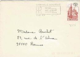 TP N° 2238 Seul  Sur Enveloppe De -Evry Ville Nouvelle - Marcophilie (Lettres)