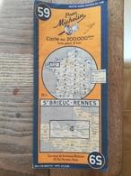 CARTE ROUTIERE MICHELIN  N° 59  SAINT BRIEUC - RENNES  DE  1946 . BON ETAT . - Cartes Routières