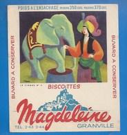 50 - GRANVILLE - BUVARD ILLUSTRÉ- BISCOTTES MAGDELEINE - ILLUSTRATEUR CLERC - LE CIRQUE N° 2 -  ÉLÉPHANT - Biscottes