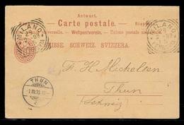 SWITZERLAND. 1898 (28 Feb). 10c Red Stat Card Reply Half Used From Milano. Fine. - Switzerland