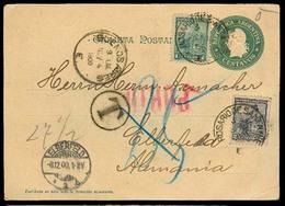 Argentina - Stationery. 1900 (3 Nov). Rosario / Sta Fe - Germany. 5c Green Stat Card Not Valid For Postage (0) + 2 Adtls - Argentina