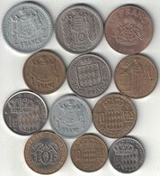 Monaco Collection Of 12 Coins 1943-1989 All Listed & Different - Monaco