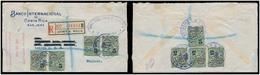 "COSTA RICA. 1935. San Jose - UK. Reg Mutlifkd Official Stmaps 5c (8) + Red ""cert De Oficio"" Cachet. Scarce Multiple Usag - Costa Rica"