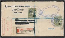 "COSTA RICA. 1935. San Jose - UK. Reg Fkd Env / Official 20c (x2) Stamps / Lilac Cachets + ""de Oficio / Certifiquese"" Red - Costa Rica"