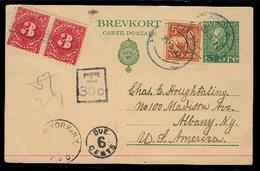 SWEDEN. 1924 (25 Aug). Gostorp Weinge - USA. 10o Green Stat Card + Adtl, Taxed 30c + US P Dues / 6 Cents Aux Marks. Fine - Suède