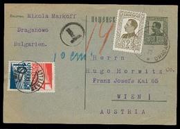 BULGARIA. 1928 (29 June). Draganowo - Austria. 1l Green Stat Card + Adtl + Taxed + 2 Austrian Postage Dues Tied. VF Cond - Bulgarien