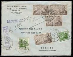 MARRUECOS. 1948 (26 Oct). Tanger - Suiza. Carta Certificada Via Aerea Uso Multiple Sellos De España (6). Preciosa. - Maroc (1956-...)