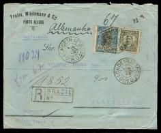 Brazil - XX. 1910 (1 June). Porto Alegre / Cachoeira - Germany. Reg Fkd Env / 900rs Rate / Mixed Issues Fine. - Brésil