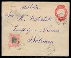 Brazil -Stationary. 1895 (27 Jan) Cahy / S. Pedro Sul - Austria / Bohemia. 100rs Red Ambossed Stat Env + 100 Rs Adtls / - Brésil