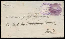NICARAGUA. 1900 (9 July). Bluefields - France. 10c Lilac Stat Env / Scarce Used + Arrival. Fine. - Nicaragua
