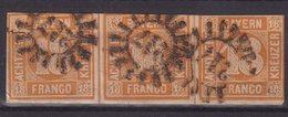 BAVIERE : N° 8 . BANDE DE 3  . OBL . DEFAUTS . 1849/50 . - Bavaria
