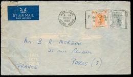 HONG KONG. 1959 (29 Nov). Kowloon - France. Bilingual Slogan Cancel Air Fkd Env. - Hong Kong (1997-...)