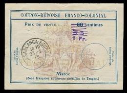 MARRUECOS - French. 1939 (23 March). Coupon - Response - Franco - Colonial. Casablanca Usage. Bureau Cherifien. Doble Ov - Maroc (1956-...)