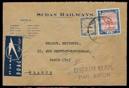 SUDAN. 1951. Post Sudan - France. Railways Official Env Fkd Airmail / BOAC Label + Marks. Scarce So. - Soudan (1954-...)