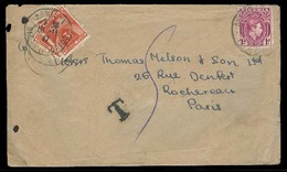 BC - Nigeria. 1947. Ibadan - France. Fkd Env 1d / Taxed + 3a French Postage Due Diff Places. Scarce Triple Taxation + Co - Unclassified