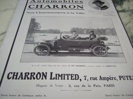 ANCIENNE PUBLICITE AUTOMOBILES CHARRON ET CHARLES FALLOT 1910 - Voitures