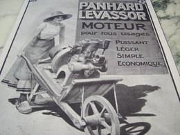 ANCIENNE PUBLICITE MOTEUR TOUS USAGE PANHARD LEVASSOR 1910 - Transports
