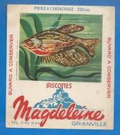 50 - GRANVILLE - BUVARD ILLUSTRÉ- BISCOTTES MAGDELEINE - POISSON  N° 5 - OSPHRONÉMUS MOSAÏQUE (archipel Malais) - Biscottes
