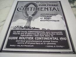 ANCIENNE PUBLICITE PNEU CUIR FERRE  CONTINENTAL   1910 - Transports