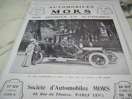 ANCIENNE PUBLICITE AUTOMOBILE  MORS ET LAFARGUE MARIE 1910 - Voitures