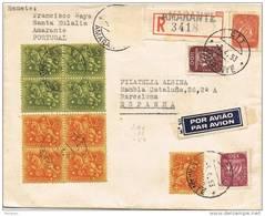 31019. Carta Aerea Certifcada AMARANTE (portugal) 1953. Viñeta Label LISBOA 1953 - 1910-... República