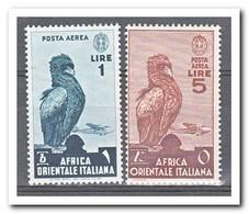Italiaans Oost Afrika 1938, Plakker MH, Birds, Airplane - Italiaans Oost-Afrika