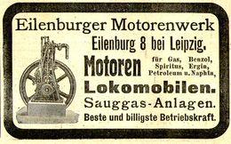 Original-Werbung/ Anzeige 1910 - EILENBURGER MOTORENWERK - EILENBURG  - Ca. 100 X 60 Mm - Publicités