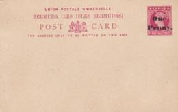BERMUDES  :  Entier Postal Victoria Surchargé One Penny Neuf - Bermudes