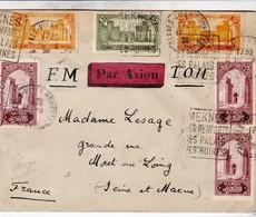 MAROC / PAR AVION / FM / TOM / 1928 / DEPART SPAHIS  MEKNES HOPITAL LOUIS .. / POUR MORET SUR LOING - Morocco (1891-1956)