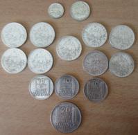 France - 15 Monnaies En Argent : 50c, 1fr Et 9 X 5 Francs Semeuse Argent + 3 X 10 Et 20 Francs Turin 1933 RC - TB à SUP - France