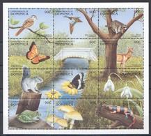 L914 DOMINICA FLORA & FAUNA ANIMALS BIRDS BUTTERFLIES REPTILES 1SH MNH - Butterflies